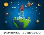 paper art style of rocket... | Shutterstock .eps vector #1048983470