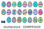 easter eggs doodle set. spring... | Shutterstock .eps vector #1048992620