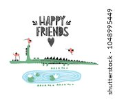 crocodile and bird illustration ... | Shutterstock .eps vector #1048995449