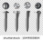 set of screws  bolts  nuts and... | Shutterstock .eps vector #1049003804