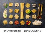 various pasta and condiments.... | Shutterstock . vector #1049006543