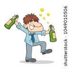 drunken businessman holding... | Shutterstock .eps vector #1049010506