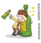 man hugging a big bottle of... | Shutterstock .eps vector #1049012933