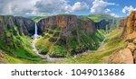 maletsunyane falls in lesotho... | Shutterstock . vector #1049013686