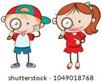 boy and girl holding magnifying ... | Shutterstock .eps vector #1049018768