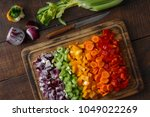 top view chopped vegetables... | Shutterstock . vector #1049022269