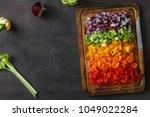 frame of chopped fresh... | Shutterstock . vector #1049022284