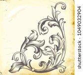retro baroque decorations... | Shutterstock .eps vector #1049032904
