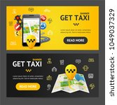 get taxi car service banner... | Shutterstock .eps vector #1049037329