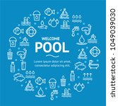 pool and water signs round... | Shutterstock .eps vector #1049039030