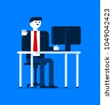 an office worker man in his... | Shutterstock .eps vector #1049042423