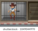 cowboy being locked in jail... | Shutterstock .eps vector #1049044970