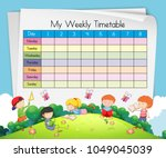 weekly timetable template with... | Shutterstock .eps vector #1049045039