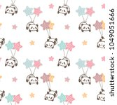 Stock vector seamless pattern of cartoon panda balloon and star design on white background 1049051666