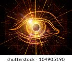 eye outlines, fractal and abstract design elements arrangement suitable as a backdrop in projects on modern technologies, mechanical progress, artificial intelligence, virtual reality and imaging - stock photo
