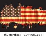 grunge flag of usa.american... | Shutterstock .eps vector #1049051984