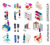 atelier studio concept set 3d... | Shutterstock .eps vector #1049053619
