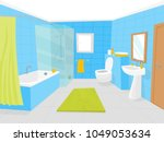cartoon bathroom interior with...   Shutterstock .eps vector #1049053634