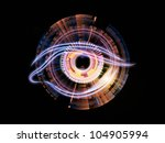 Abstract design made of eye outlines, fractal and abstract design elements on the subject of modern technologies, mechanical progress, artificial intelligence, virtual reality and digital imaging - stock photo