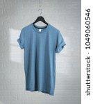 blank blue t shirts mock up... | Shutterstock . vector #1049060546