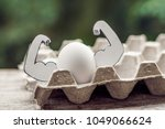 egg with muscles  concept of... | Shutterstock . vector #1049066624