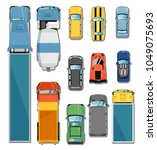 cars and trucks top view set... | Shutterstock . vector #1049075693