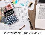 australian dollar with graph ... | Shutterstock . vector #1049083493