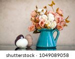 easter and spring background... | Shutterstock . vector #1049089058