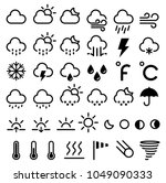 weather forecast icons. vector... | Shutterstock .eps vector #1049090333
