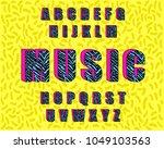 90's retro alphabet font. zebra ... | Shutterstock .eps vector #1049103563