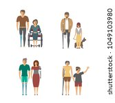 disabled people isolated set in ... | Shutterstock . vector #1049103980