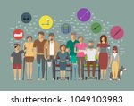 disabled people banner in flat... | Shutterstock . vector #1049103983