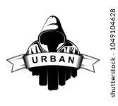 logo design. hooded man. city... | Shutterstock .eps vector #1049104628