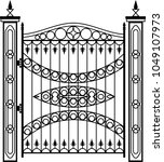 wrought iron gate  ornamental... | Shutterstock .eps vector #1049107973