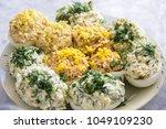 homemade stuffed eggs  perfect... | Shutterstock . vector #1049109230
