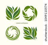 set grass and leaves label... | Shutterstock .eps vector #1049110574