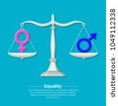 gender signs on scales. balance ... | Shutterstock .eps vector #1049112338