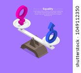 gender signs on scales. balance ... | Shutterstock .eps vector #1049112350