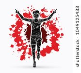runner jogger  athletic running ... | Shutterstock .eps vector #1049125433