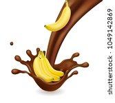 banana in chocolate liquid flow.... | Shutterstock .eps vector #1049142869