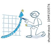 stick figure checks a curve... | Shutterstock .eps vector #1049153576