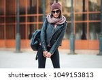 young fashion woman with... | Shutterstock . vector #1049153813