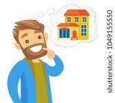 caucasian white man dreaming... | Shutterstock .eps vector #1049155550