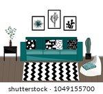 scandinavian style livingroom... | Shutterstock .eps vector #1049155700