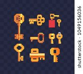 golden key with keychain and... | Shutterstock .eps vector #1049156036