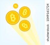 flat golden bitcoin... | Shutterstock .eps vector #1049161724