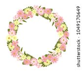 vector flower wreath. floral... | Shutterstock .eps vector #1049170649