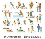 active family father and son... | Shutterstock .eps vector #1049182289