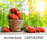 ripe sweet strawberries in... | Shutterstock . vector #1049183900