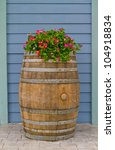 Old Wooden Barrel Covered With...